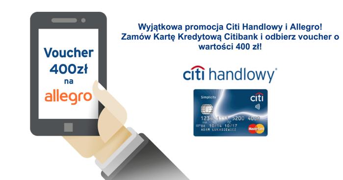 400 zł do wydania na Allegro oraz darmowa karta Citibank